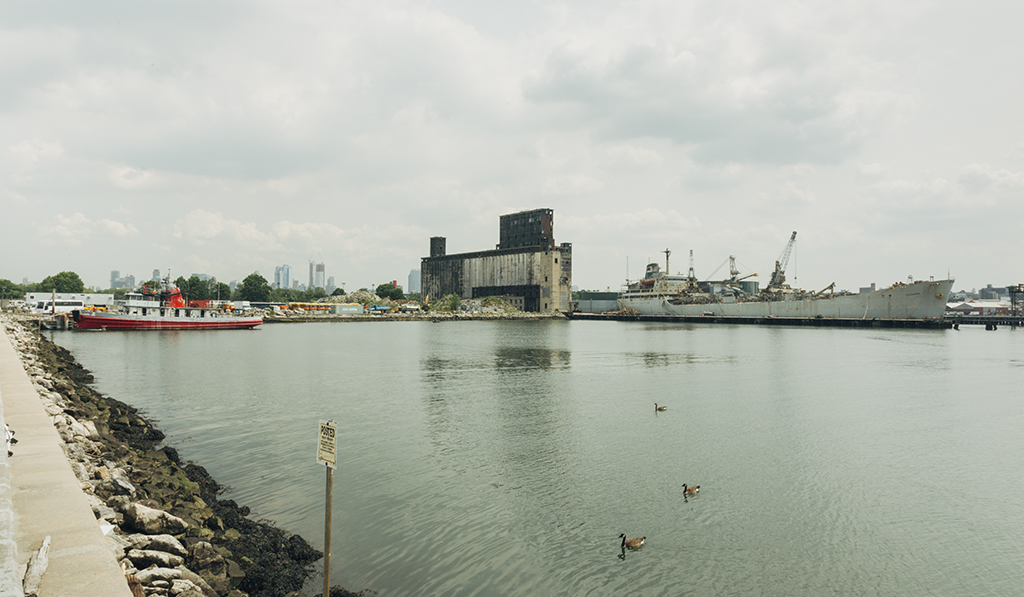 A waterway in industrial Brooklyn with two barges and ducks swimming