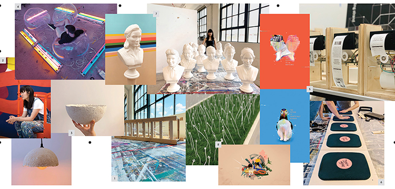 Collage of sculptures and graphic designs on scientific themes