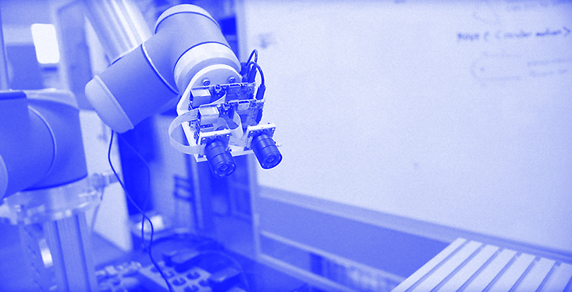 A stereoscopic camera mounted on a robot arm