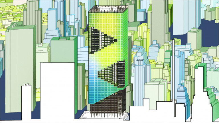 Pulled-back side view of skyscraper showing zig-zag pattern of enclosed and open spaces, colored yellow, green, and blue