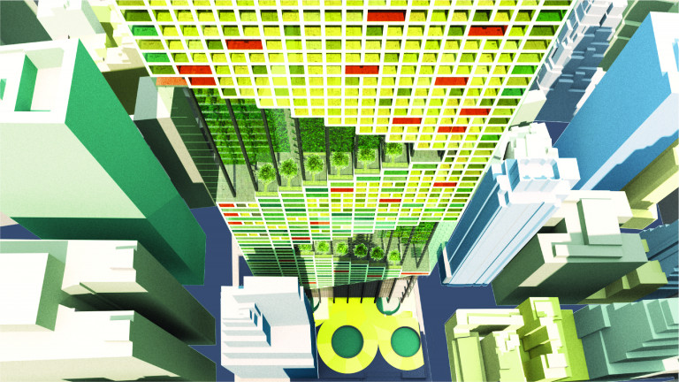 Overhead view looking down the side of a skyscraper colored in shades of red, green, and yellow to represent the types of occupant use