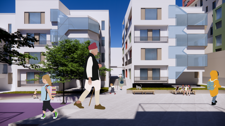 Adults and children walk in a courtyard surrounded by four-story residential buildings
