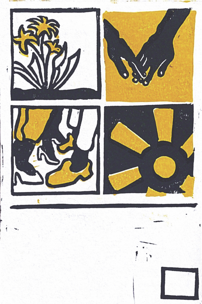 Rendered in thick black lines with yellow accents, four squares depict two black hands touching, a shining sun, feet in heels and sneakers approaching one another, and three flowers growing up from the earth