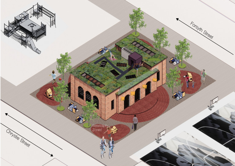 """Overhead view of a community center between Chrystie and Forsyth Streets, showing a green roof where people practice yoga, brick patios labeled """"serendipity zones,"""" and square chair-and-table sets around the periphery"""