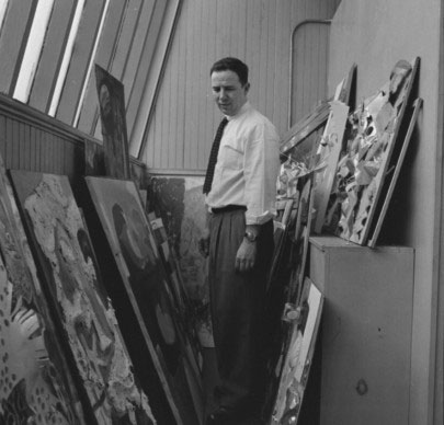 Richard Bove with student work in 1959. From the Pratt Institute Archives Negatives Collection.