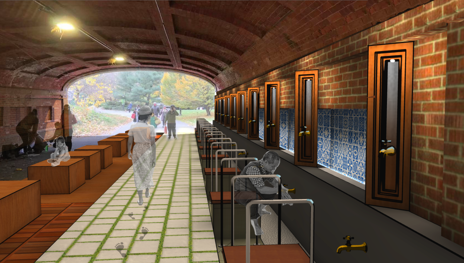 A person washes their hands at a washing station within one of Central Park's tunnels as a barefoot person passes by on a white stone walkway between a row of washing stations and a row of wooden blocks for sitting