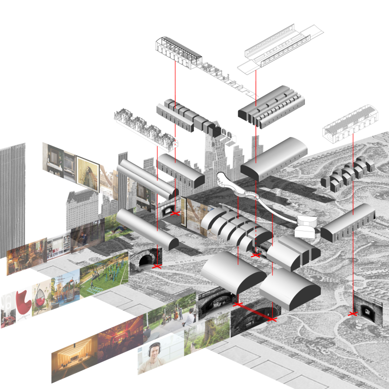 Diagram showing the space within a selection of Central Park's tunnels and the interior architectural components to fill that void