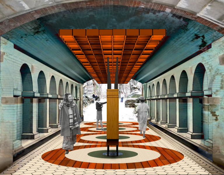 People pass through a park tunnel with wall and overhead bricks tinted in a pale green-blue, with a long red ceiling fixture; green, white, and red concentric circles on the floor; and a row of bookshelves running the length of the tunnel