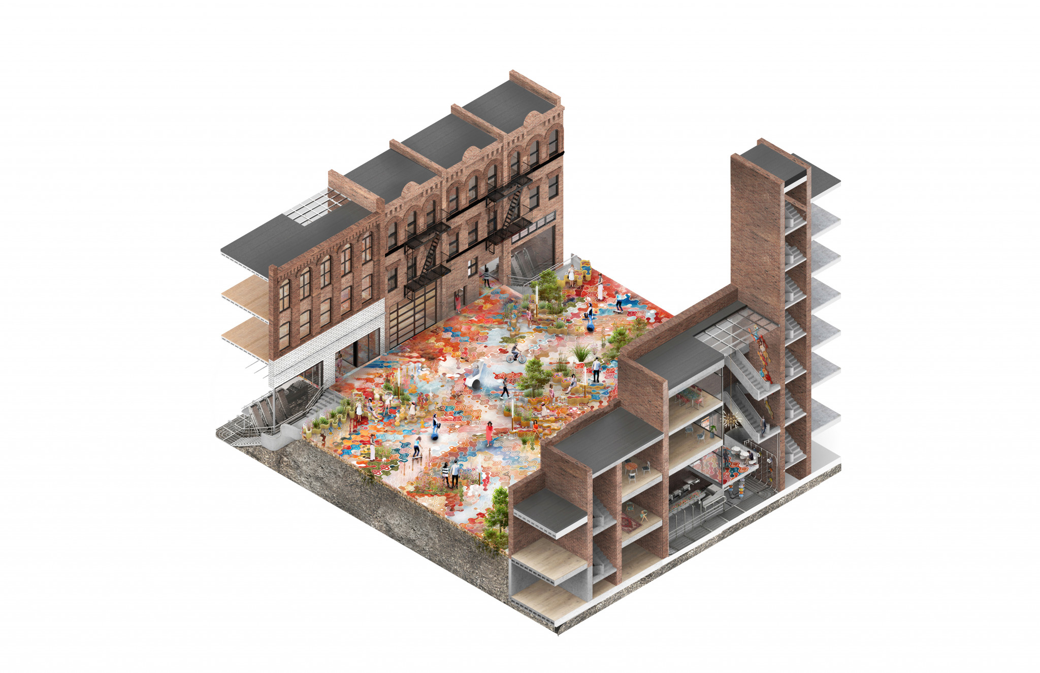 Axonometric view from above of a city block with brownstone townhomes on either side of a colorful pedestrian plaza