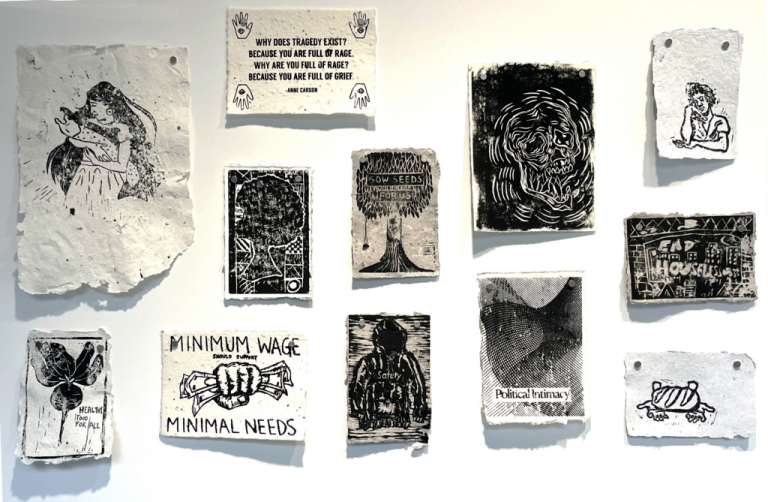 Seed paper prints by Pratt students and Recess: Assembly participants