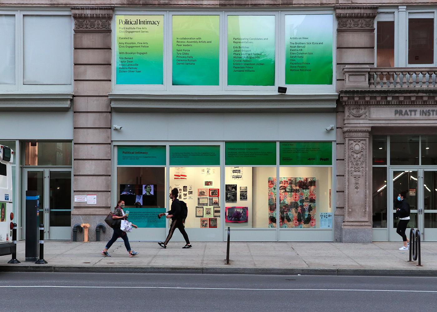 Installation view of 'Political Intimacy' in the Pratt Manhattan Gallery windows