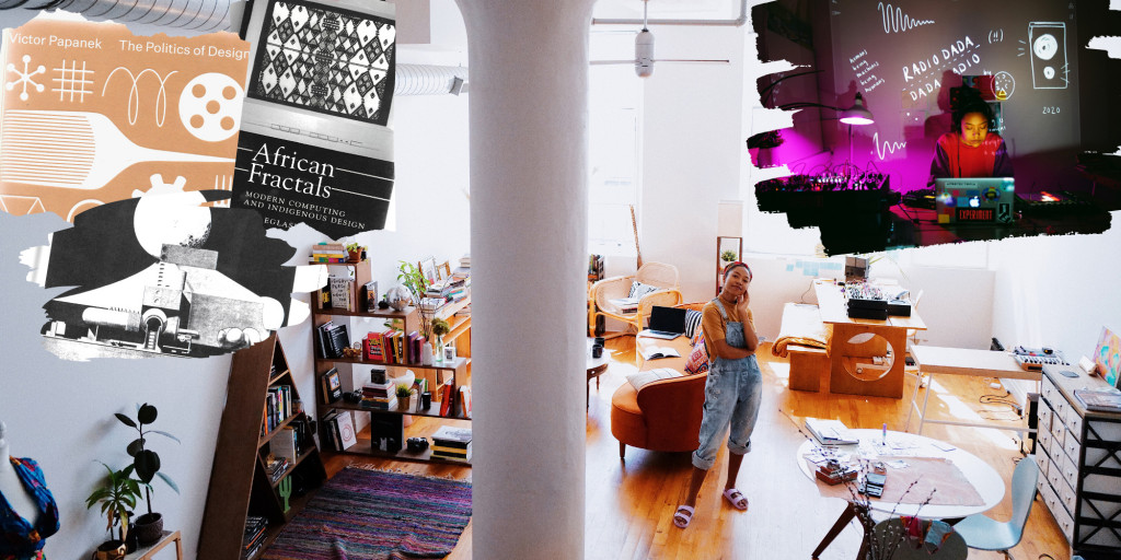 Collage of artist in brightly lit loft studio