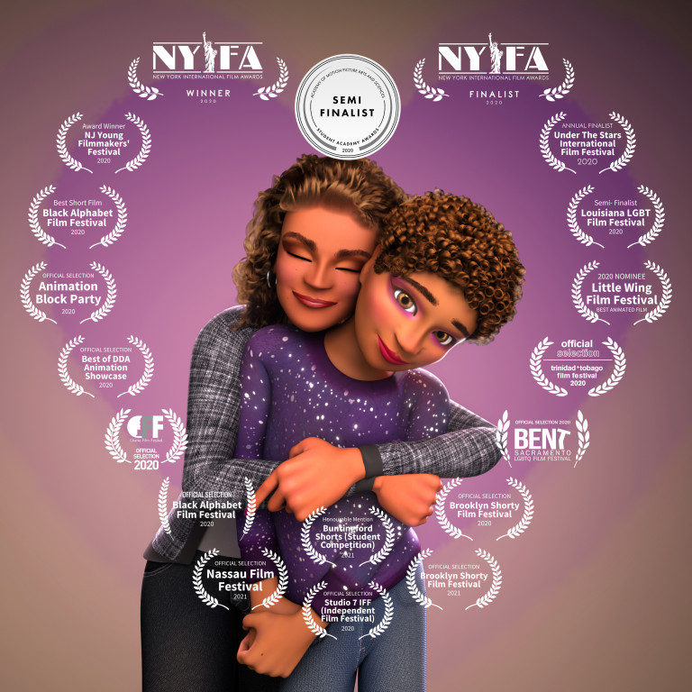 Film poster showing a woman with curly bronze hair and brown skin hugging a smiling boy, hazel eyes adorned in purple eyeshadow, from behind, overlaid with film festival emblems