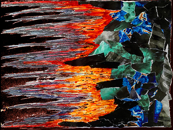 From left to right, thick black brushstrokes extend into fire-red marker-like strokes, which meet a field of strips and fragments of green, blue, and black
