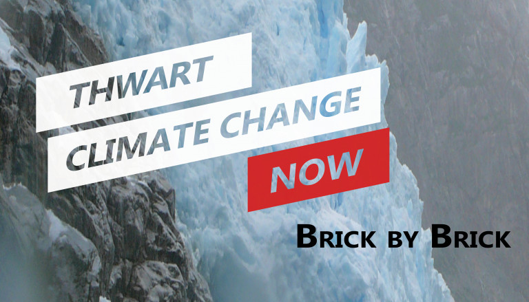 Cover of Thwart Climate Change Now with type over a background of gray and blue glacial ice