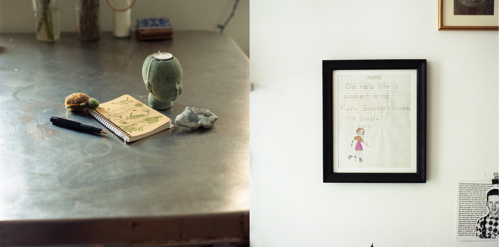 Split picture of a notebook with a pen, candles and jade-colored crystals around; a picture of a framed note