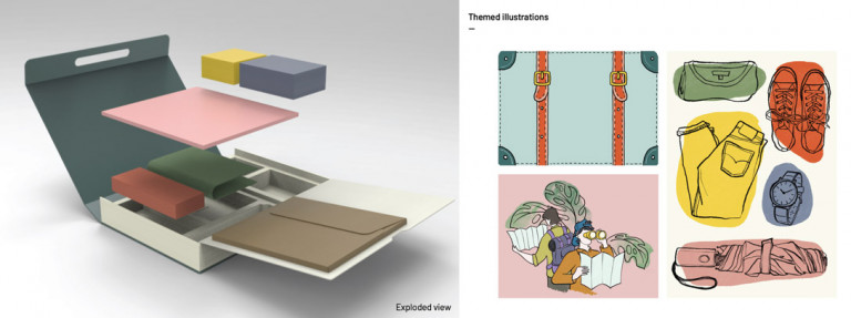 Exploded view and illustrations for mental health learning kit by Pratt industrial design student Claire Seonjae Choi