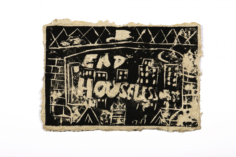 """Rough-edged paper with black-ink print of a city skyline viewed through the plinths of a bridge with the message """"end houselessness"""""""