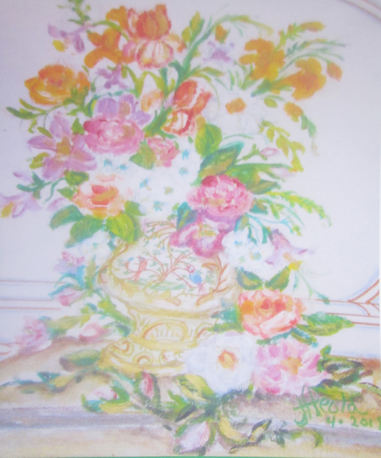 A loosely representational painting of pink, white, and orange flowers arranged in a gold vase