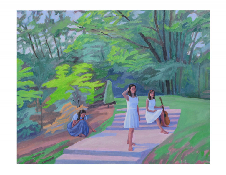 Impressionistic painting in soft pastel colors depicting three figures in dresses, one holding a guitar, arranged on and beside the steps of a path cutting through a green landscape