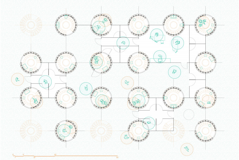 Line drawn overhead view of 19 circular structures linked by walls