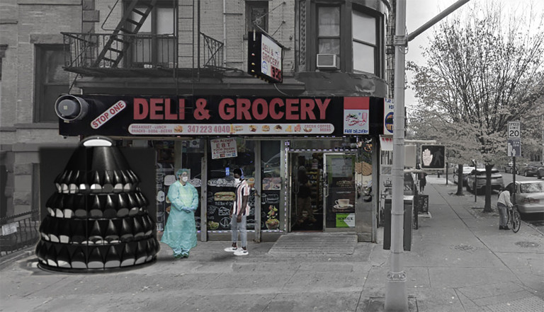In front of the Stop One corner store, a clinician in protective gear and patient stand outside a black conical structure