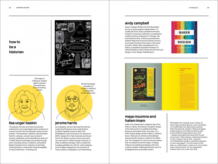 Spread from Extra Bold with headshot illustrations of Lisa Unger Baskin and Jerome Harris, and on facing page, cover of Queer x Design and interior of Safar magazine
