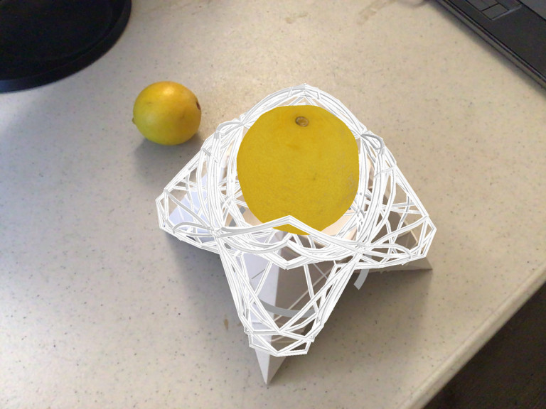 Overlapping physical and digital views of a mixed-reality design object, a vessel holding a lemon