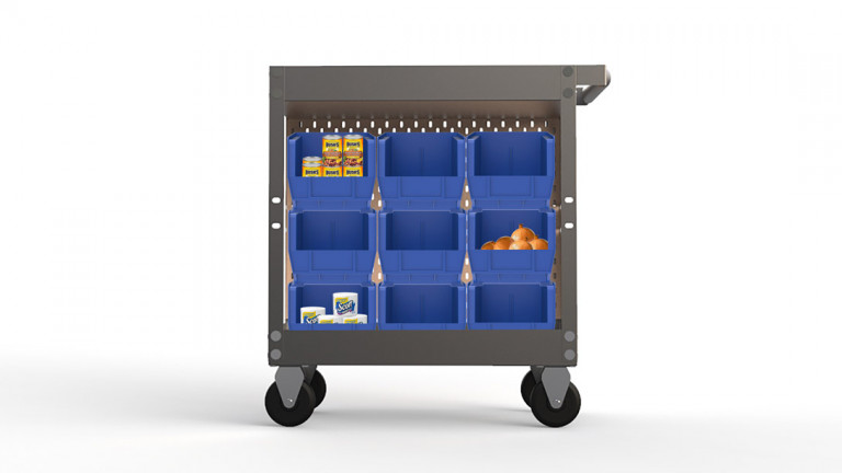 A cart with blue shelves on the side containing cans of foods, onions, and items of basic necessity.