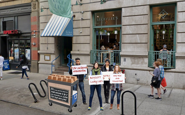 Picture of 4 young people protesting Lucky Lee's restaurant