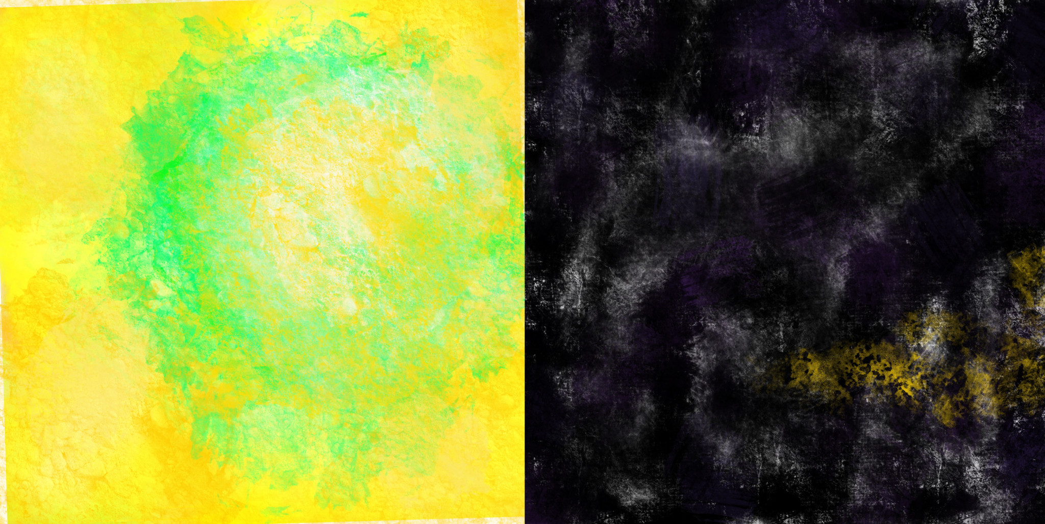 Abstract yellow daubs of color overlay the field around a thick green circle emerging right of center; a blurry yellow triangle peeks out from a fog of black and purple