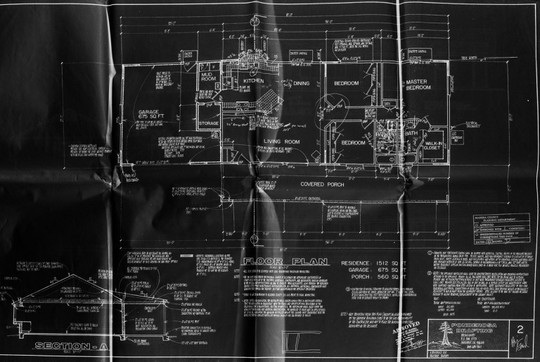 Floor plan in black and white