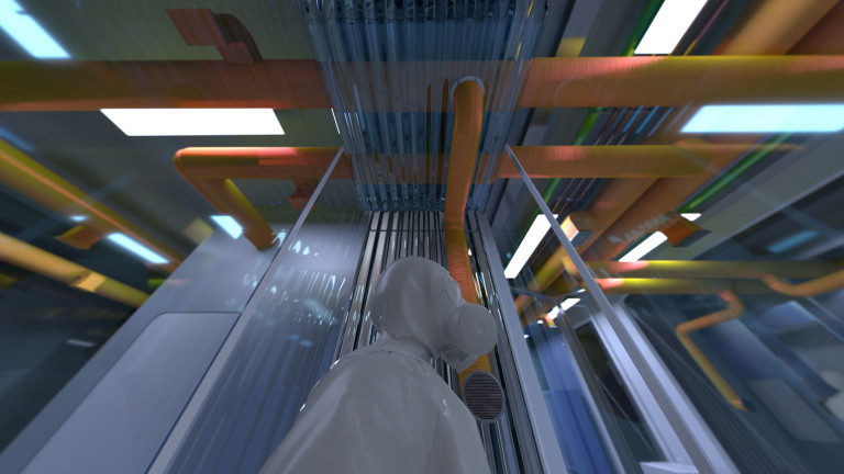 Upward view of exposed orange-yellow ventilation pipes running across a ceiling, with a blurred figure in protective clothing in the foreground