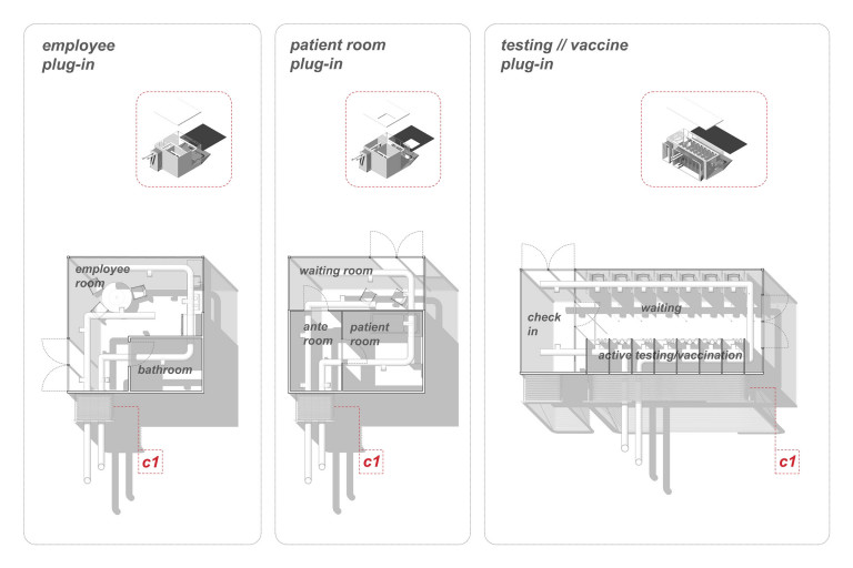 Architectural drawings of overhead view of clinic rooms labeled employee plug-in, patient room plug-in, and testing/vaccine plug-in