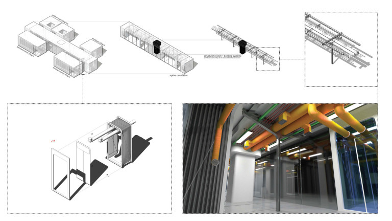 Architectural drawings and a rendering of a structure composed of a hallway and attachable rooms
