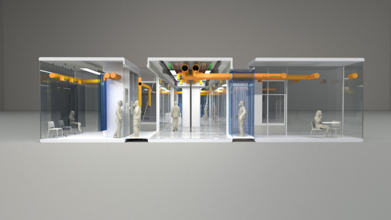 Section view of a clinic hallway, anterooms, and rooms where people are waiting and working, with transparent walls and an exposed orange-yellow people system overhead