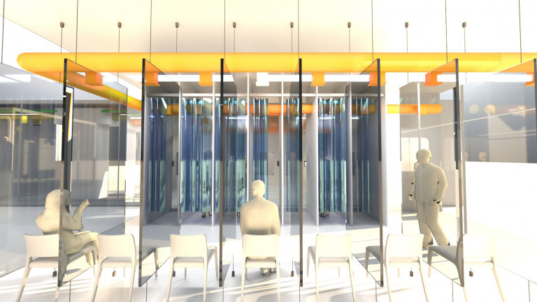 A room divided by transparent partitions, each containing a chair, with an exposed overhead airflow system of yellow pipes