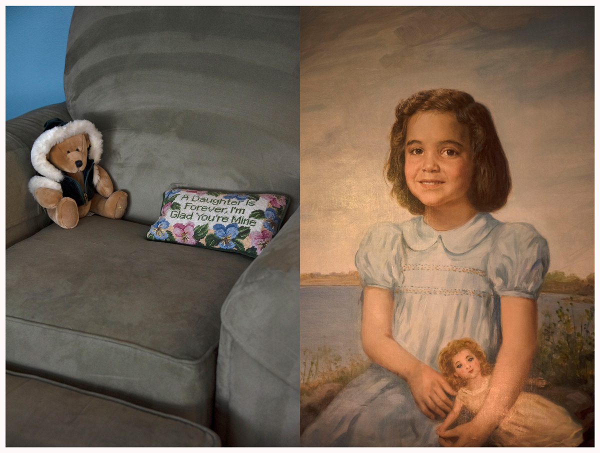 Split images of a couch with a teddybear and pillow on one side; the other of a portrait of a young girl in a blue blouse holding a doll