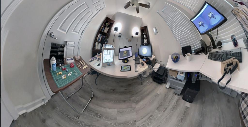 Fisheye view of an office