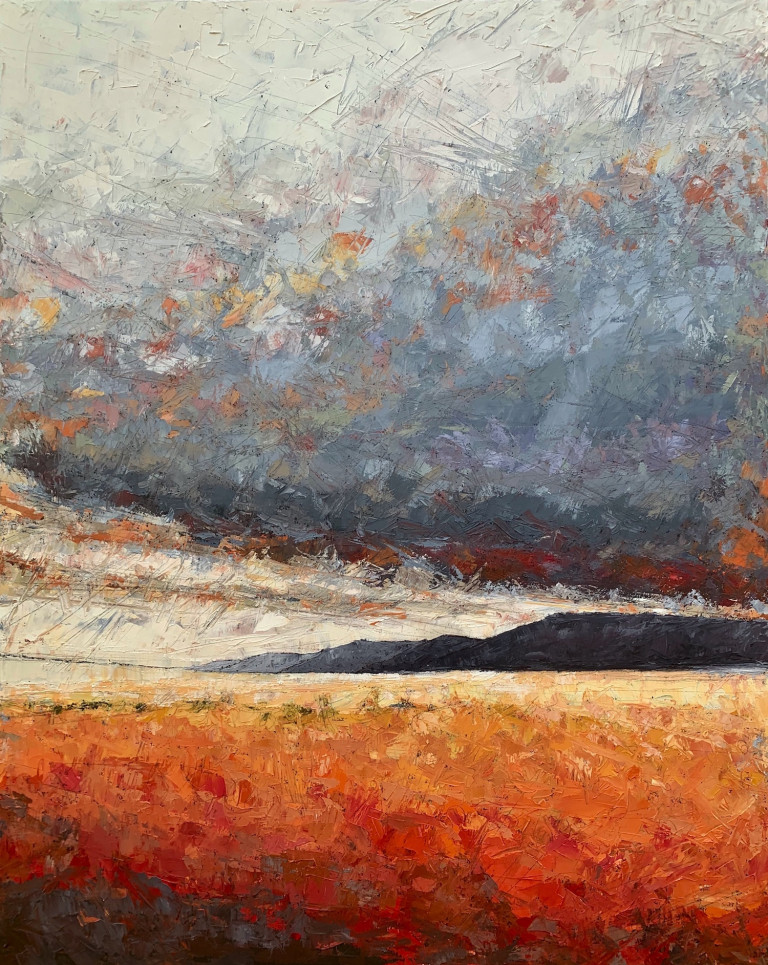 Painting in hashed strokes suggesting a red and orange field before a strip of gray hills and a gray darkening sky overhead
