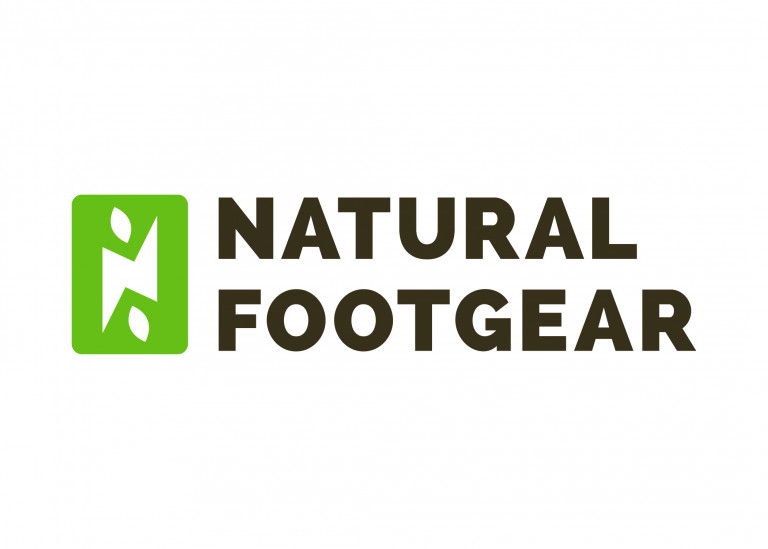 Logo for Natural Footgear in brown block type with sage green rectangle emblazoned with white N and two small elliptic leaf shapes