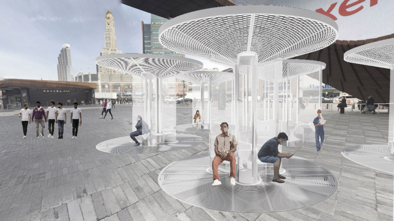 In a plaza outside Barclays Center, people sit on benches around columns with clear partitions and circular canopies