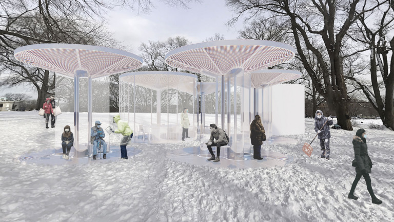 Grouping of pavilions and glass-walled room in a snow-covered clearing in Fort Greene Park, with people waiting, shoveling snow, and walking past