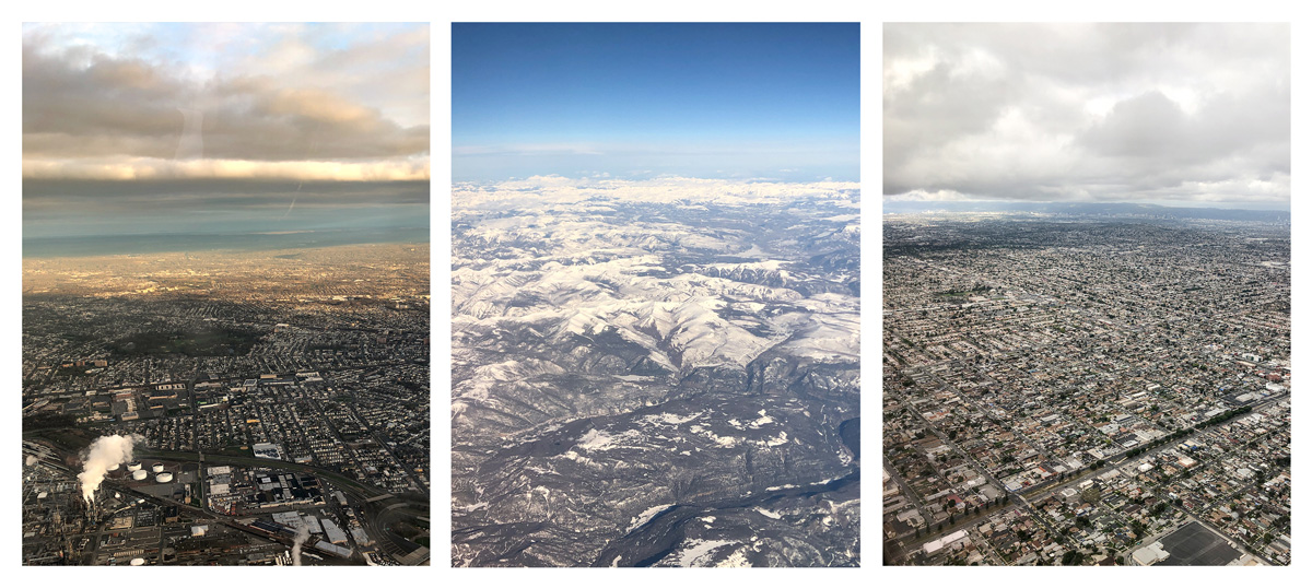 Three picture of different locations, a city with factories on the left; snowy mountains in the middle; and a city in the middle