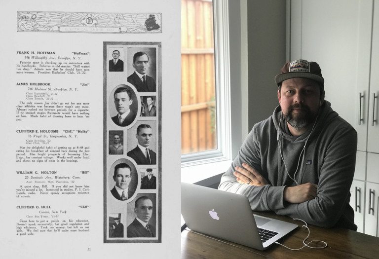An adult student in his remote-study space on the right and a page from the 1922 Prattonia yearbook featuring the student's great-grandfather on the left