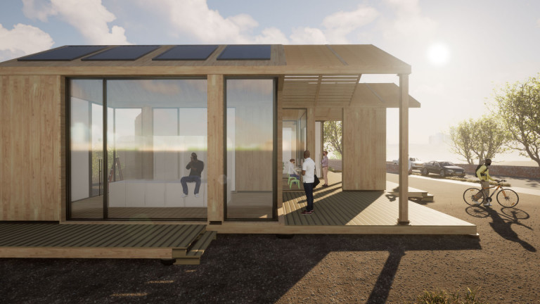 Building made of light wood and glass with solar panels on the roof, bright sun shining behind it, casting shadows to the left