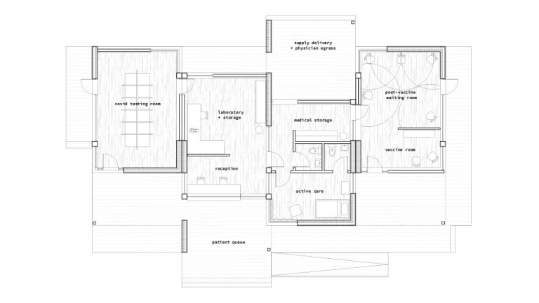 Floorplan for a clinic's rooms, labeled covid-testing room, laboratory and storage, reception, supply delivery and physician egress, vaccine room, post-vaccine waiting room, active care, and medical storage