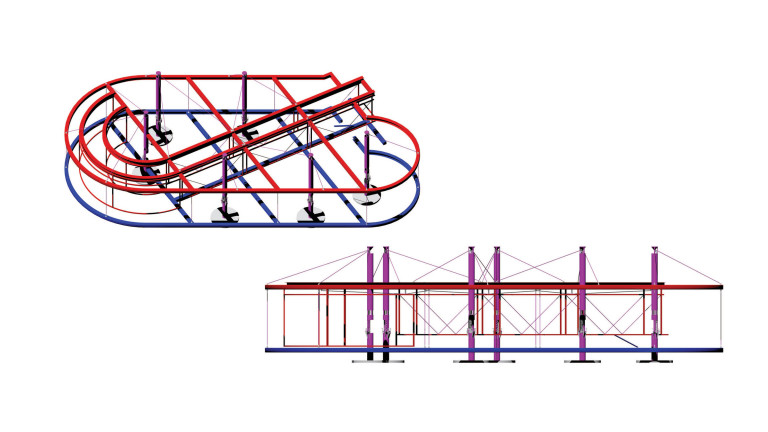 Architectural drawing of a suspended structure in the looping shape of a Tesla valve