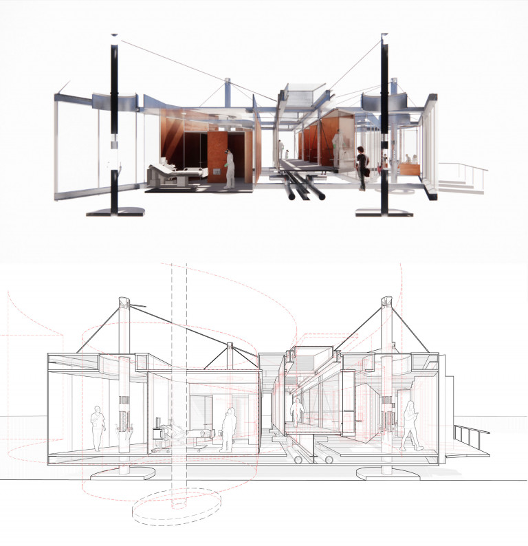 Architectural drawings of a structure suspended on four support columns