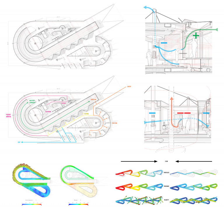 Composite of several drawings showing the curved paths of air through a Tesla valve shaped structure